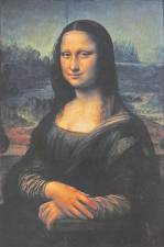 Reproductions of Leonardo's paintings such as the Mona Lisa.