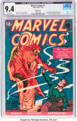 "This image courtesy of Heritage Auctions shows a copy of Marvel Comics No. 1, the 1939 comic book considered the 'Big Bang' of the Marvel Comics Superhero Universe. The comic book sold for $1,260,000 on November, 21, 2019, at a public auction of vintage comic books and comic art held by Heritage Auctions in Dallas, Texas. - RESTRICTED TO EDITORIAL USE - MANDATORY CREDIT ""AFP PHOTO / Heritage Auctions"" -"