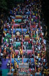 Hindu devotees climb up the steps of the Sri Subramaniar Temple in Batu Caves, Kuala Lumpur on Jan 20, 2019, a day before the Thaipusam festival. — Bernama