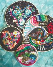 Incorporating nature and colour in embroidered artwork