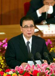 This file photo taken on March 10, 2003 shows National People's Congress (NPC) Chairman Li Peng making his final address at the Great Hall of the People in Beijing. Former Chinese premier Li Peng — known as the Butcher of Beijing for his role in the Tiananmen Square killings — died aged 91, the state broadcaster said on July 23, 2019. — AFP