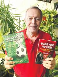 English football columnist Bob Holmes with his first book and the latest book. - SUNPIX BY LIVINGESHAN KRISHNAN