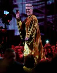 Pink with the award for Outstanding Contribution at the Brit Awards at the O2 Arena in London, Britain, February 20, 2019. -REUTERS/Hannah McKay