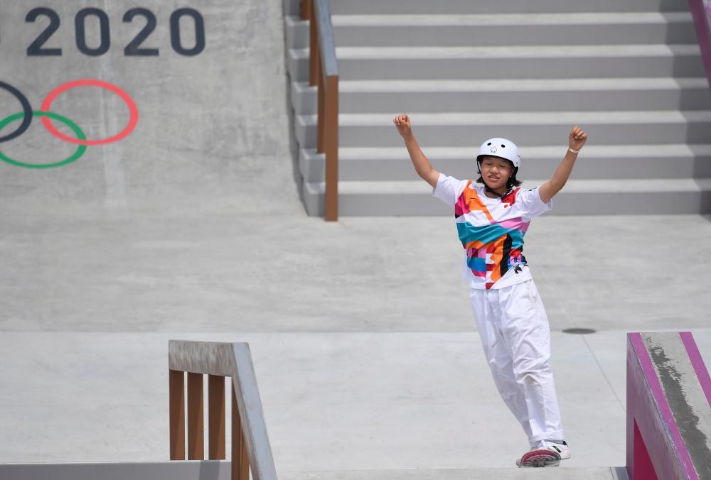 Tokyo 2020 Olympics - Skateboarding - Women's Street - Preliminary Round - Ariake Urban Sports Park - Tokyo, Japan - July 26, 2021. Momiji Nishiya of Japan reacts. REUTERSpix