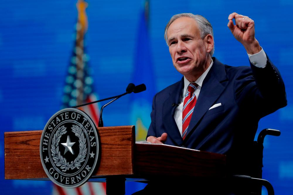 Texas Governor Greg Abbott speaks at the annual National Rifle Association (NRA) convention in Dallas, Texas, US, May 4, 2018. REUTERSpix