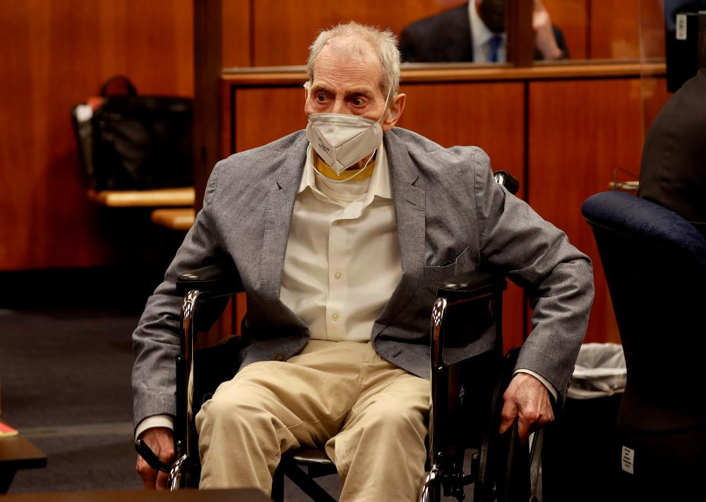 Robert Durst in his wheelchair looks at people in the courtroom as he appears in an Inglewood courtroom with his attorneys for closing arguments in his murder trial at the Inglewood Courthouse in California, US, September 8, 2021. REUTERSpix