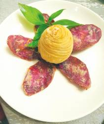 At Elegant Inn Hong Kong Cuisine ... The truffle radish puff with twin purple sweet potatoes. – ALICE YONG