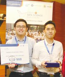 Peh (left) and Leong from Monash University Malaysia were crowned national champions at the Malaysian finals last year.