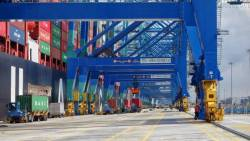 General view of a berth at Westports.