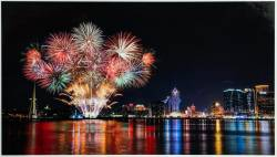 A colourful fireworks display lights up Macao's skyline.