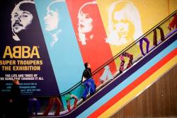 A visitor enters the ABBA: Super Troupers The Exhibition at the O2 in London, Britain, December 5, 2019. REUTERS/Lisi Niesner