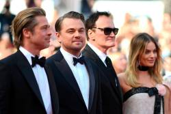 US actor Brad Pitt, US actor Leonardo DiCaprio, US film director, screenwriter, producer, and actor Quentin Tarantino and Australian actress Margot Robbie at the Cannes film festival. -AFP