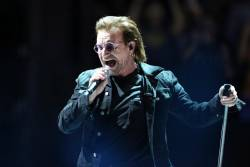 Irish lead singer of rock band U2, Bono on stage in Paris on September 8, 2018. © Zakaria ABDELKAFI / AFP