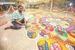 Kolam artist Ruben Prakash speaks about the sweat, tears and joy that goes into creating one of these beautiful traditional art forms. – AMIRUL SYAFIQ MOHD DIN/THESUN