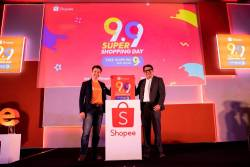 From left: Shopee Malaysia Business Head Zed Li and Song launching Shopee's 9.9 Super Shopping Day.