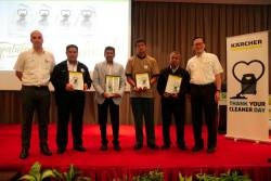 From left: Karcher Malaysia head of sales Ismail Abdullah, Noruddin, Faizal, Mohd Madzrie, Sahadan and Kiew.