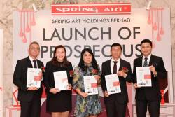 From left: M&A Securities Sdn Bhd head of corporate finance Gary Ting, Spring Art CFO Christine Teo, executive director Yvonne Kwan, Lim and M&A Securities managing director of corporate finance Datuk Bill Tan at the prospectus launch today.
