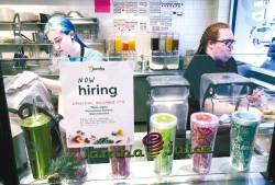 A sign at a Jamba Juice outlet in San Francisco, California, on Friday.. The US job market added 266,000 jobs in November, beating analyst expectations of 180,000 and the unemployment rate fell to a 50 year low of 3.5%. – AFPPIX