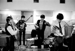 Brian Jones, Bill Wyman, Keith Richards and Mick Jagger of the Rolling Stones are seen at the De Lane Lea recording studios in 1963. Rare images of the Rolling Stones from 1963 will be on public display in London from 18 November until 2 December 2019. Gus Coral/Zebraonegallery.com via REUTERS THIS IMAGE HAS BEEN SUPPLIED BY A THIRD PARTY. MANDATORY CREDIT. NO RESALES. NO ARCHIVES.