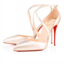 A pair of Christian Louboutin 'Maltaise' heels with red soles.