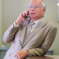 Former prime minister Datuk Seri Najib Abdul Razak during a break in his corruption trial involving RM42mil of SRC International Sdn Bhd at the High Court in Kuala Lumpur on June 19, 2019. — BBX
