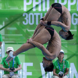 National diving athletes in action at the diving event in New Clark City, today — Bernama