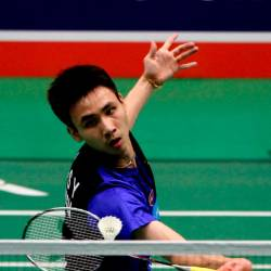 Lee Shun Yang finishes the men's singles badminton final in the Celcom Axiata national under-21 badminton championships at Arena Badminton Ipoh today. - Bernama