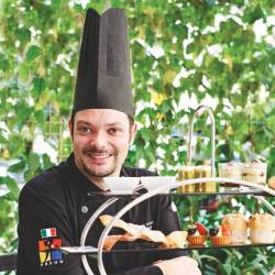 Chef Marco De Cecco with the Italian afternoon tea set.