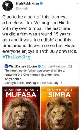 The Khans are taking over the Hindi version of 'The Lion King'