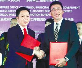 PUC managing director and CEO Cheong Chia Chou (left) with Sichuan Goodchains chairman Sun Jianwei at the signing ceremony yesterday. – Zulkifli Ersal/theSun