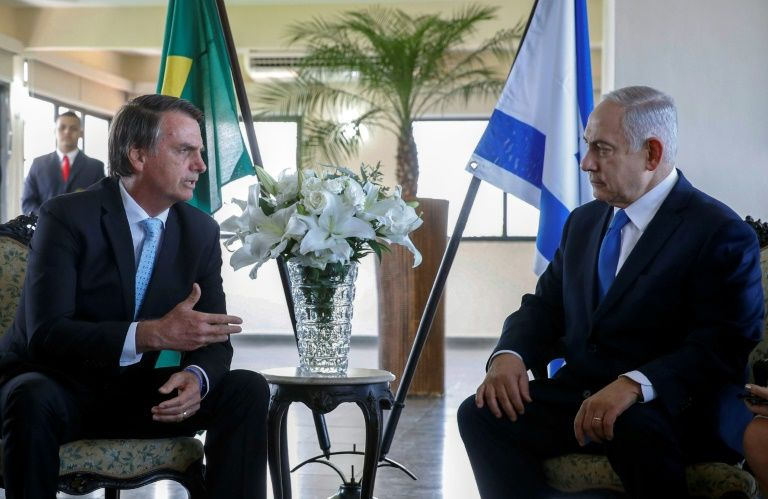 Israel's Prime Minister Benjamin Netanyahu (R) is in Brazil for talks with far-right president-elect Jair Bolsonaro, who is to be sworn-in in a ceremony in Brasilia on Jan 1, 2019. — AFP