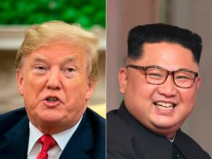 (FILES) This combination of file pictures shows US President Donald Trump speaking to the press in the Oval Office at the White House in Washington on June 27, 2018, and North Korea's leader Kim Jong Un (R) at the start of the historic US-North Korea summit, at the Capella Hotel on Sentosa island in Singapore on June 12, 2018. K / AFP / Nicholas KAMM AND Saul LOEB