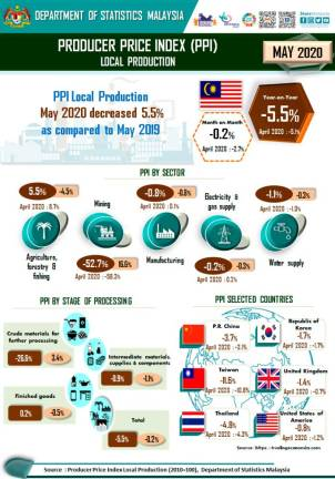 PPI falls 5.5% in May 2020
