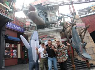 From left: Choo, Ferrante and Harris during the launch of the Sharknado Alive attraction at Sunway Lagoon. SUNPIX by ASYRAF RASID