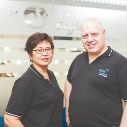 Holloway (right) and Angie founded Modern English Puchong in 2011.