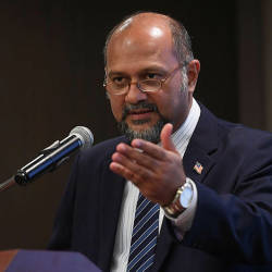 Communications and Multimedia Minister Gobind Singh Deo gives his speech at the Suhakam-Media programme at a hotel in Kuala Lumpur on Feb 21, 2019. — Bernama