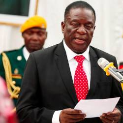 Zimbabwean President Emmerson Mnangagwa officiates at the swearing in ceremony for his cabinet at State House in Harare, Zimbabwe on Dec 4, 2017. — Reuters