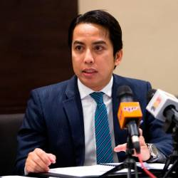 Malaysian Embassy Charge d'Affaires Mohamad Shahir Sabarudin speaks to the media on Tuesday ahead of Dr Mahathir's visit to Qatar. - Bernama