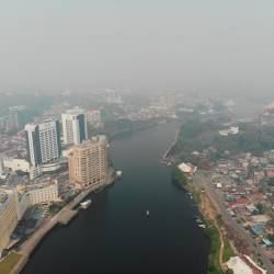 Aerial view of Kuching city with API reading of 245 11am yesterday. — Bernama