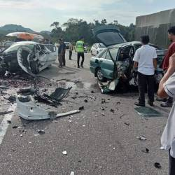 The scene of the accident, in Kampung Sungai Ikan, on May 25, 2019. — Bernama
