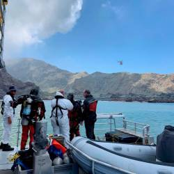 Members of a dive squad conduct a search during a recovery operation around White Island, which is also known by its Maori name of Whakaari, a volcanic island that fatally erupted earlier this week, in New Zealand, December 13, 2019 in this handout photo supplied by the New Zealand Police. - Reuters