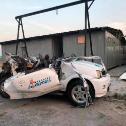 The wreck of a Perodua Kembara after the collision with a private aircraft at Sultan Abdul Aziz Shah Airport, Subang on March 18, 2019.