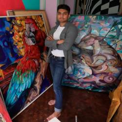 Haris held his first solo exhibition at Artemis Art in Publika.– MASRY CHE ANI/THESUN