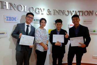 Winners of the Dell Hack-to-Hire competition ... BIT (Hons) Data Analytics programme leader Ng Shu Min (second from left) with three of the students (from left) Jacky Voon Teck Seng, Karl Choo Jia Long and Tan Zy Hnn.