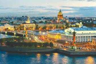The city of St. Petersburg overlooks the Neva river, and is rich in history and culture with its many palaces and churches.