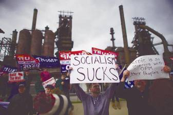 Trump supporters demonstrate outside a FOX News Town Hall with Democratic presidential candidate, Senator Bernie Sanders at SteelStacks on Monday in Bethlehem, Pennsylvania. Sanders is running for president in a crowded field of Democrat contenders. – AFPpix
