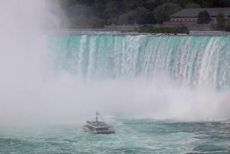 Canadian tourist boat Hornblower, limited under Ontario's rules to just six passengers amid the spread of the coronavirus disease (COVID-19), is seen in Niagara Falls, Ontario, Canada July 21, 2020. REUTERS/Carlos Osorio