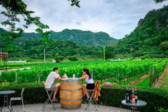 This photograph taken on June 26, 2020 shows tourists tasting wine at GranMonte Vineyard and Winery in Nakhon Ratchasima, some 170 km north east of Bangkok. AFP / Mladen ANTONOV