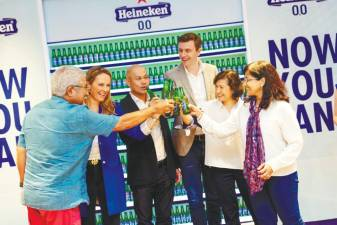 Cheers to Heineken 0.0 ... (from far left) Heineken Malaysia's board member Martin Manen, Meijboom-van Wel, Heineken Malaysia managing director Roland Bala, Chabot, Heineken Malaysia's board member Linda Ngiam, and corporate affairs and legal director Renuka Indrarajah. – HEINEKEN MALAYSIA