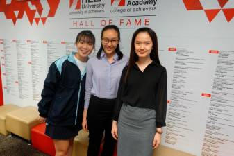 (from left) Kua, Lee and Soh win scholarships to University of Queensland.